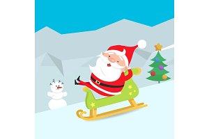Cartoon Santa Claus Riding a Sleigh