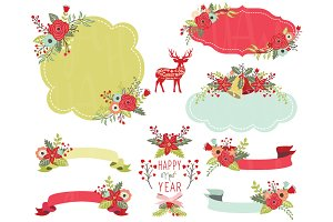 Floral Christmas Frame Elements