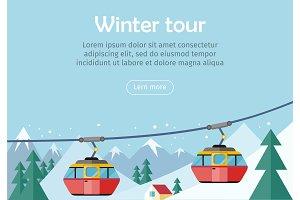 Mountain Tours Concept Banner