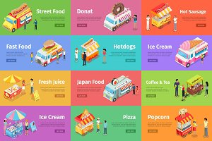 Street Food Stores Isometric Vector