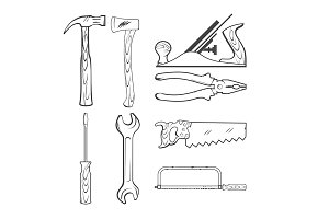Vintage Style Vector Hand Tools