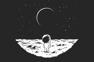 Cute astronaut stands alone on Moon