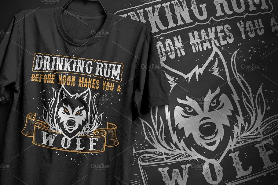 Drinking rum Wolf Typography Design