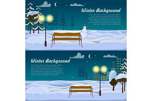 Winter Background. Set of Two