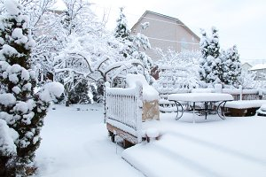 Garden and patio after snowfall.