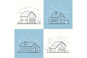 Cottage houses - illustrations