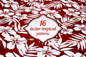 16 vector tropical flowers patterns