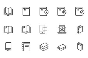 Book Line Icons