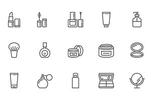 Cosmetics and Makeup Line Icons