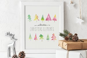 Hand-painted Christmas elements