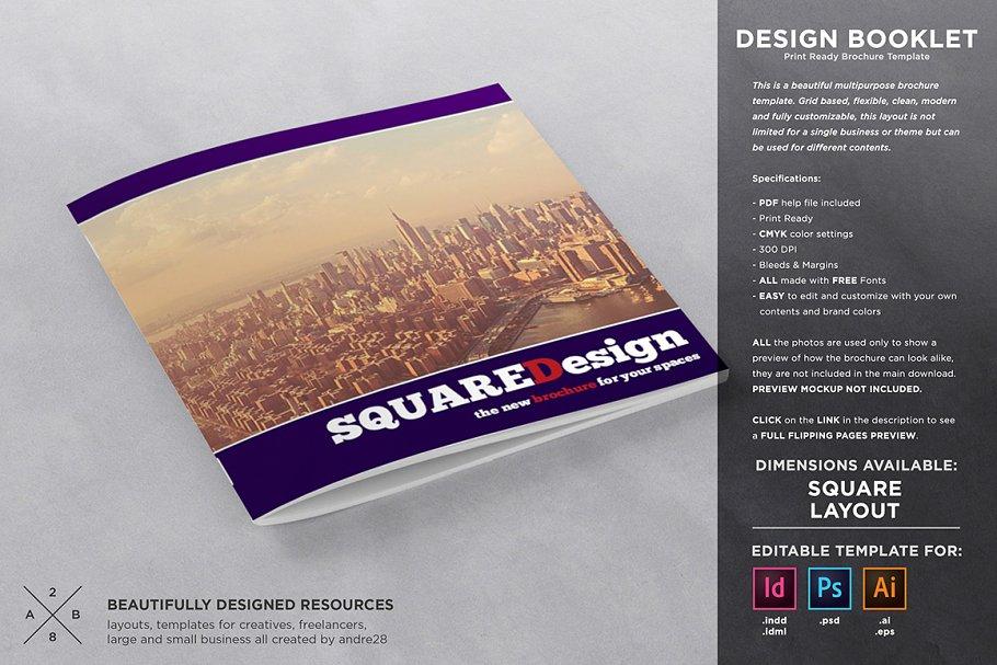 Square Design Brochure Template Brochure Templates Creative Market
