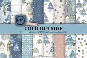 Watercolor winter digital paper pack