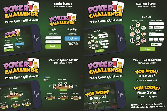 Poker Game UI Graphic Assets