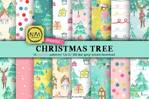 Christmas tree watercolor paper pack