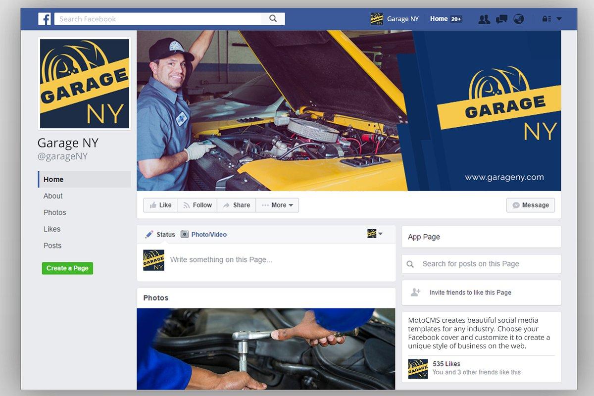 Auto Shop Facebook Cover Template