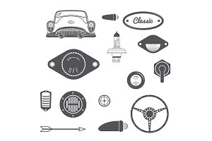Set of Retro car design vintage