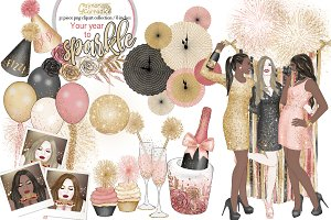 New year fashion clipart collection