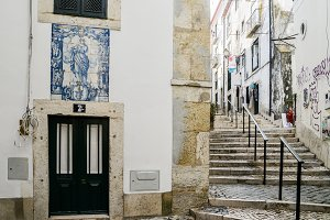 Narrow streets in Alfama district