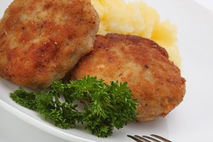 roasted cutlets and mashed potatoes