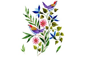 Ornament with birds PNG watercolor