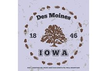 Des Moines, Iowa. t-shirt graphic