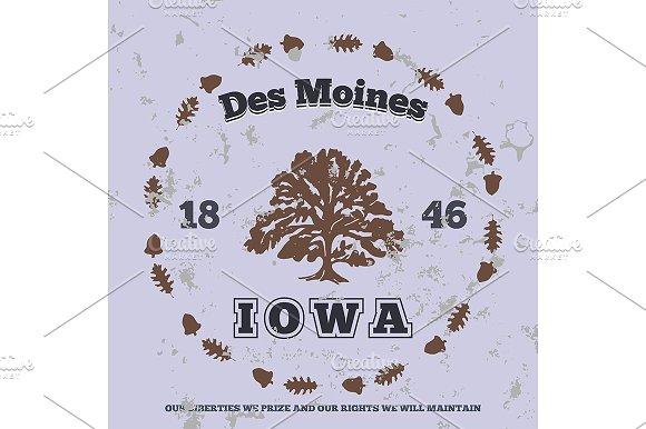 Des Moines, Iowa. t-shirt graphic - Illustrations