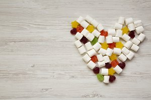 Heart made of candies