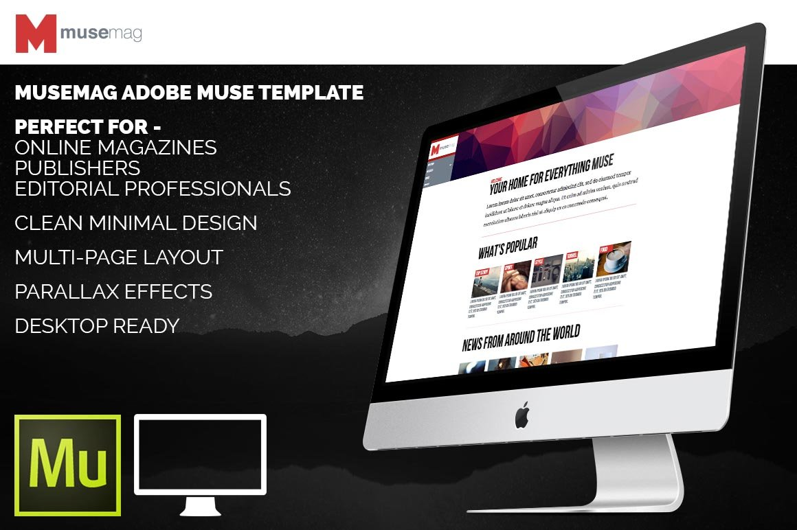 Musemag adobe muse template website templates for Adobe muse templates free