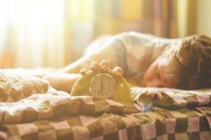 time to wake up, sleeping lying in b
