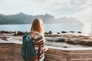 Woman enjoying sea view traveling