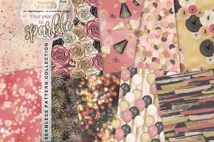 New year seamless pattern collection