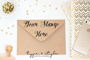 Styled Stock Photo stamp & Envelope