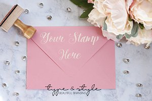 Styled Stock Photo envelope and card