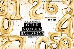 Gold number watercolor balloons