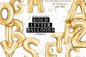 Gold letter balloons clipart