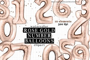 Rose gold number balloons clipart