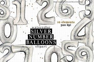 Silver watercolor balloons clipart