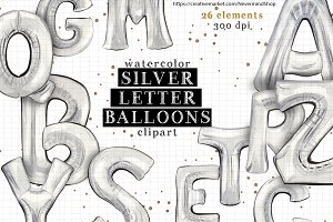 Silver alphabet watercolor balloons