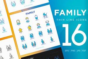 Family | 16 Thin Line Icons Set