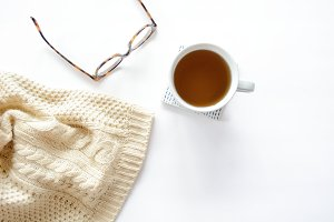 Tea and Sweater Horizontal Flatlay