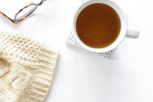 Tea and Sweater Vertical Flatlay