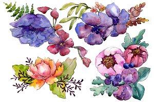 Aquarelle bouquet PNG set