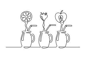 Set juice flow in glass Continuous