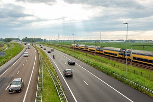 Cars on the A44 highway near Abbenes