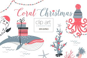 Coral Christmas clip art collection