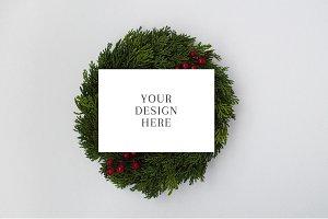 Holiday Card Mockup on Wreath