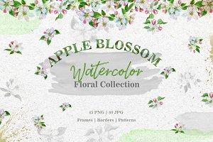 Apple blossom PNG watercolor set