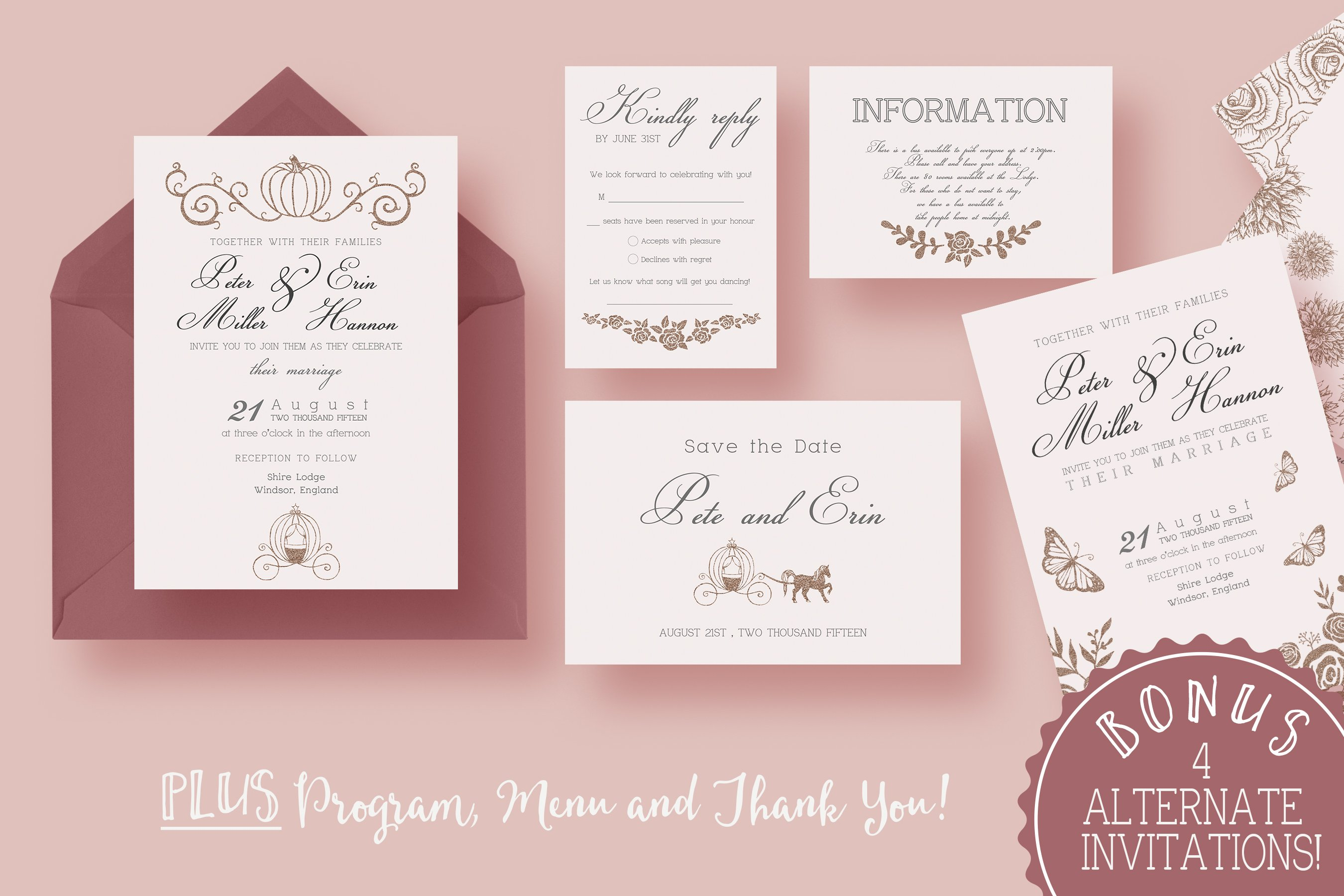 Fairy Tale Wedding Suite ~ Invitation Templates ~ Creative Market