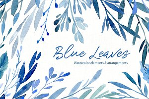 Watercolor Blue Leaves Branches PNG
