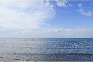 Deserted sea beach. Quiet sea Sea